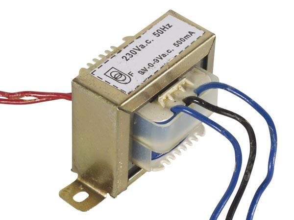 Medium Transformer 9V 0 9V 500mA HUB360