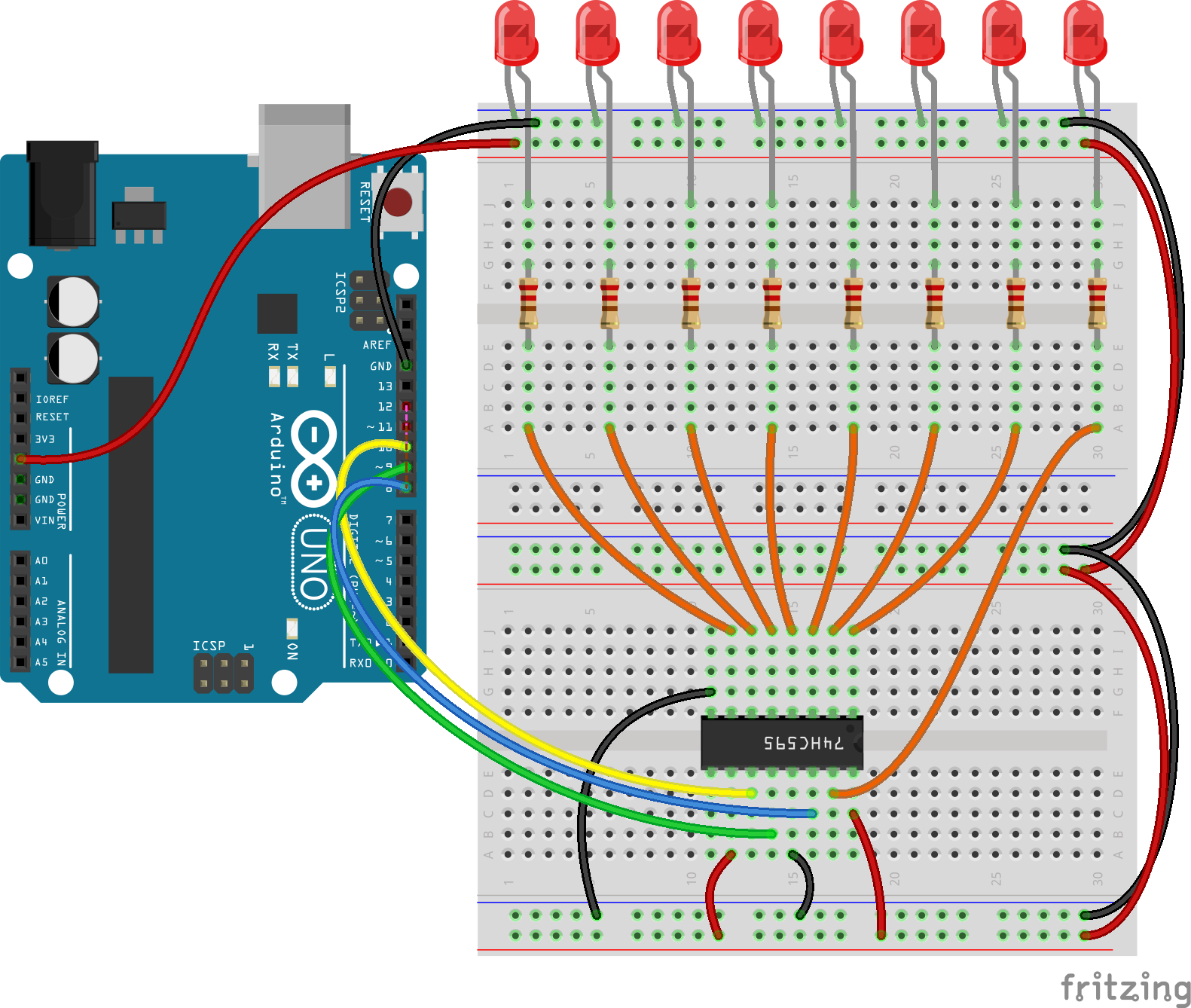 Expanding The I O Pins Of Arduino Using Shift Register Hub360 Circuit Diagram Connection Between And Is Straight Forward Easy To Understand Three Pin Needed For Communication